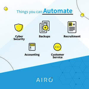 things you can automate: cyber security, backups, recruitment, accounting, customer service